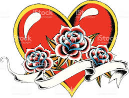 heart with rose tattoo drawing stock vector art 151932478 istock