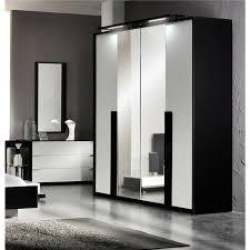 chambre noir et blanche aroma armoire 4 portes 2 miroirs laqué noir blanc achat vente