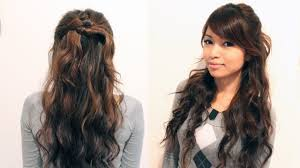 easy long hairstyles updos easy holiday curly half updo hairstyle