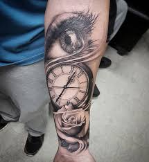 eye clock rose done 7 months ago today tattoo