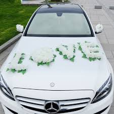 wedding car decorations white wedding car decorations artificial flowers set wedding party