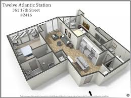 rare 2 bedroom floor plan at 12 atlantic station