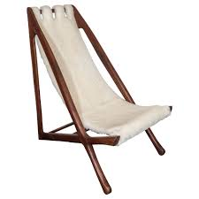 Outdoor Sling Chairs A Scandinavian Midcentury Modern Sling Chair With Sheepskin