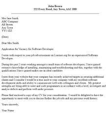 nice sample cover letter for software developer sample cover letters