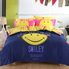 Girls Queen Size Bedding Sets by Deep Blue Yellow And Pink Smiley Face Print Trendy Vogue Hipster