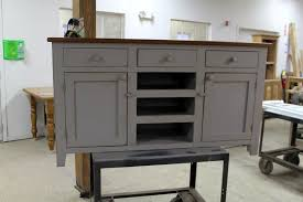 hand crafted custom made buffet sideboard in slate finish with