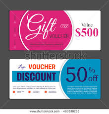 discount gift card gift voucher template can be use stock vector 483530266