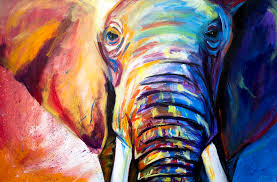 blue painting elephant by michael whitlark