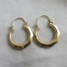 gold sleeper earrings 9k gold sleeper hoop earrings vintage c1980 top banana antiques