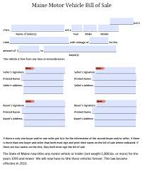 Printable Bill Of Sale For Used Car by Free Maine Dmv Vehicle Bill Of Sale Form Pdf Word Doc