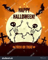 Halloween Pictures Skeletons Halloween Night Background Full Moon Cute Stock Vector 218480254