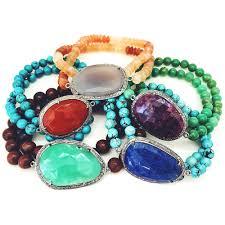 bead bracelet stone images Semi precious stone diamond bead bracelets pamela bloom jpg