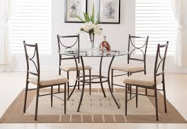 copper metal and glass round kitchen dinette dining table set
