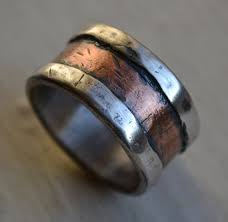 manly wedding bands mens wedding band rustic silver and copper handmade