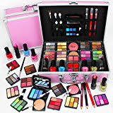Make Up Vanity Case 82 Piece Cosmetic Make Up Vanity Case Box Travel Carry Storage