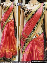peach color paper silk nx 28 saree