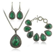 necklace with green stone images Fashion green malachite stone jewelry sets charm bracelet pendant jpg