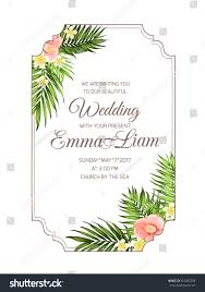 Marriage Invitation Card Exotic Tropical Wedding Marriage Invitation Card Stock Vector