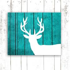 Hunting And Fishing Home Decor Deer Art Print On Wood Background Rustic Turquoise Home Decor