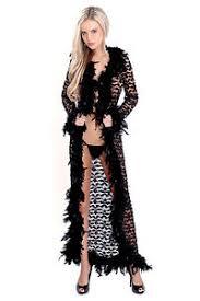 robe de chambre dentelle déshabillé peignoir robe chambre burlesque pinup noir plumes