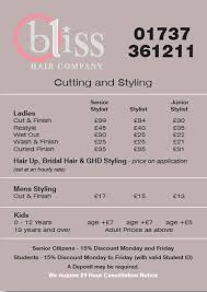 bridal hair prices bliss hair company hair salon tattenham corner surrey