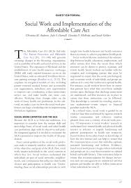 social work and implementation of the affordable care act pdf