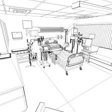 3d model hospital recovery room cgtrader