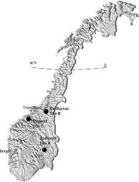 Arctic Circle Map Map Of Norway Showing The Three Sites Black Dots Where