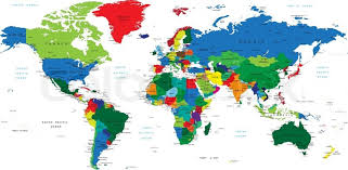 map with labels detailed map with countries big cities and other labels