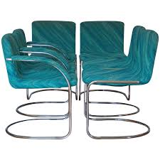 Teal Dining Chairs by Set Of Six Saporiti Italia