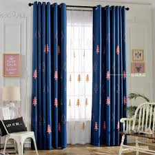 blue damask embroidery chenille thermal valance curtains for