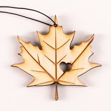 wooden maple leaf ornament cmhr boutique