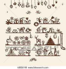 clip art of christmas shop sketch drawing for your design