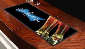 personalised blue label beer glasses design bar runner great for