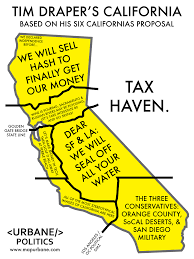 Sacramento California Map Tim Draper U0027s Six States Of California Urbane Maps Pinterest