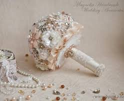 ready to ship brooch bouquet shabby chic bouquet vintage gold