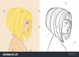 drawing of bob hair young beautiful blonde girl bob haircut stock vector 373855981