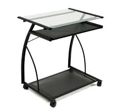 desk glass and metal computer desk with drawers black glass