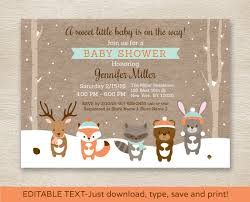 instant download baby shower invitations winter woodland animals baby shower invitation winter baby