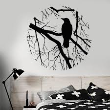 compare prices on gothic wall decor online shopping buy low price bird branch crow gothic style circle vinyl wall decal home decor living room art mural removable
