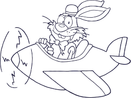coloring page of bunny rabbit in an airplane for kids coloring point