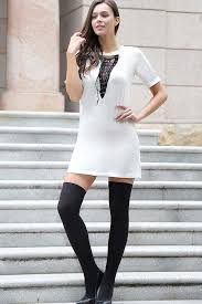 white lace up v neck short sleeve t shirt dress casual dresses
