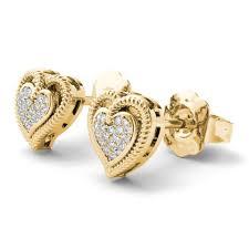 gold earrings in shape 10kt yellow gold 0 10 ct diamond heart shape stud earrings tradesy