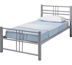 buy home atlas single metal bed frame silver at argos co uk