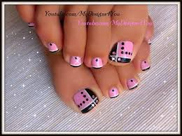 toenail design pink and black toes nail gallery