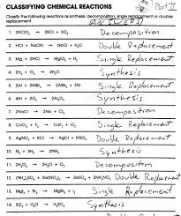 common worksheets classifying chemical reactions worksheet