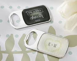 personalized bottle opener with epoxy dome rustic wedding