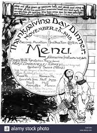 second air center thanksgiving menu 1918 stock
