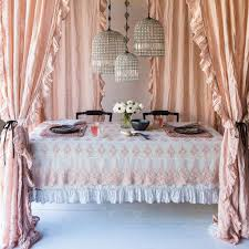 Pink Ruffle Curtains Panels by Bella Notte Curtain Panel Whisper Linen With Ruffle