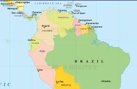 Latin Country Flags South America Map Countries And Capitals For Within With Game